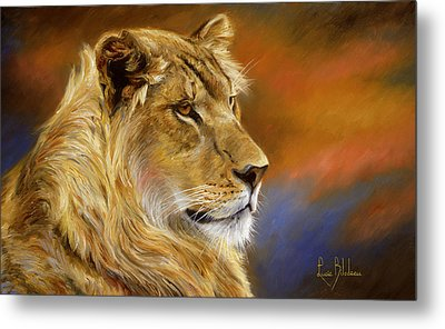 Young Lion Metal Print by Lucie Bilodeau