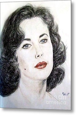 Young Liz Taylor Portrait Metal Print by Jim Fitzpatrick