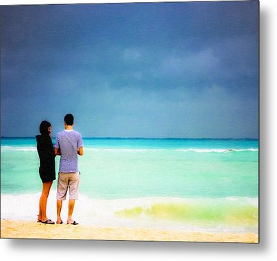 Young Love And The Stormy Sea Metal Print by Mark E Tisdale