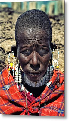Portrait Of Young Maasai Woman At Ngorongoro Conservation Tanzania Metal Print