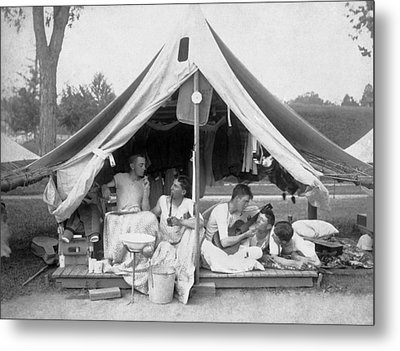 Young Men On A Camp Out Metal Print by Pach Bros.