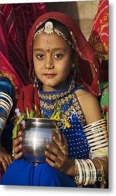 Young Rajathani At Mewar Festival - Udaipur India Metal Print by Craig Lovell