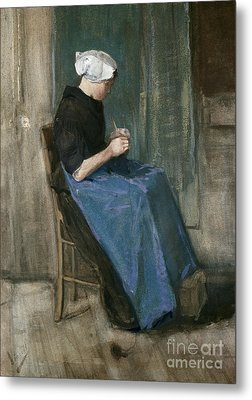 Young Scheveningen Woman Knitting Facing Right Metal Print by Vincent van Gogh