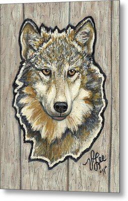 Metal Print featuring the painting Young Wolf by VLee Watson