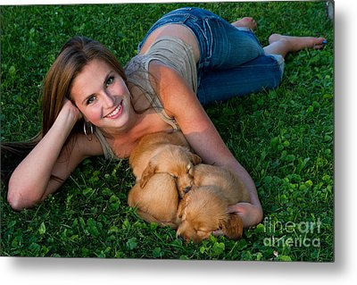 Young Woman And Golden Retriever Puppies Metal Print by Linda Freshwaters Arndt