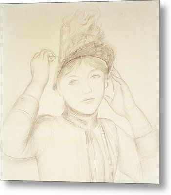 Young Woman Arranging Her Hat Metal Print by Pierre Auguste Renoir