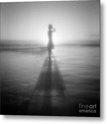 Young Woman By Pool At Sunrise Metal Print by Colin and Linda McKie