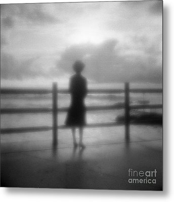 Young Woman By Sea Early Morning Metal Print by Colin and Linda McKie