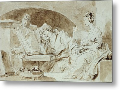 Young Woman Consulting A Necromancer Metal Print by Jean-Honore Fragonard