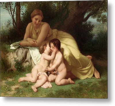 Young Woman Contemplating Two Embracing Children Metal Print by William Bouguereau