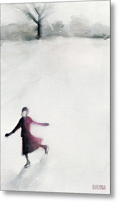 Young Woman Ice Skating Watercolor Painting Metal Print