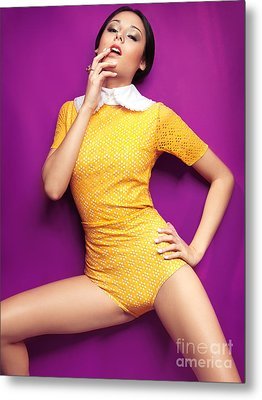 Young Woman In Bright Yellow Vintage Style Clothes Metal Print by Oleksiy Maksymenko
