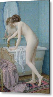 Young Woman Preparing Her Bath  Metal Print by Jules Scalbert