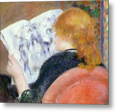 Young Woman Reading An Illustrated Journal Metal Print