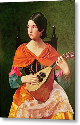 Young Woman With A Mandolin Metal Print