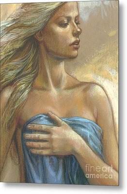 Young Woman With Blue Drape Crop Metal Print