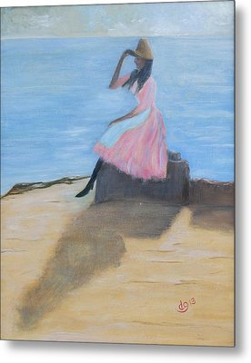 Young Women On The Beach Metal Print