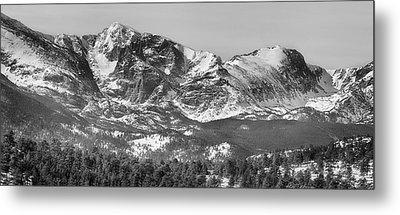Ypsilon Mountain And Fairchild Mountain Panorama Rmnp Bw Metal Print