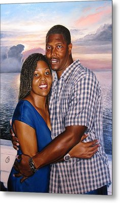 Metal Print featuring the painting Yulonda And A J by Glenn Beasley