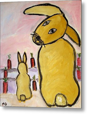 Metal Print featuring the painting Yummy Bunny by Michael Dohnalek