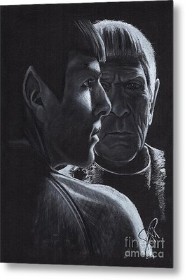Zachary Quinto And Leonard Nimoy Metal Print by Rosalinda Markle