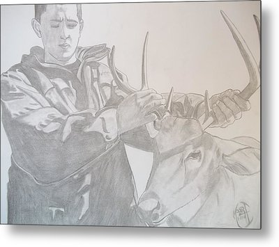 Metal Print featuring the drawing Zach's First Deer by Justin Moore