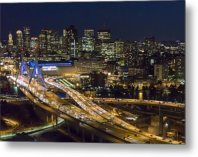 Zakim And Boston At Night Metal Print by Dave Cleaveland