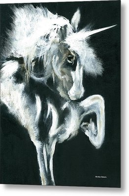 Metal Print featuring the painting Unicorn by Barbie Batson