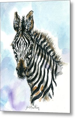 Metal Print featuring the painting Zebra 1 by Mary Armstrong