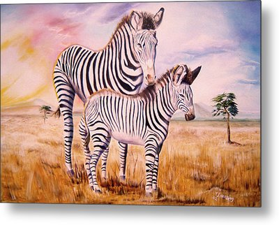 Zebra And Foal Metal Print