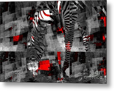 Zebra Art - 56a Metal Print by Variance Collections
