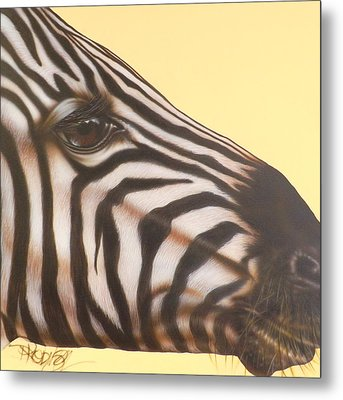 Metal Print featuring the painting Zebra by Darren Robinson