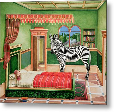 Zebra In A Bedroom, 1996 Metal Print by Anthony Southcombe