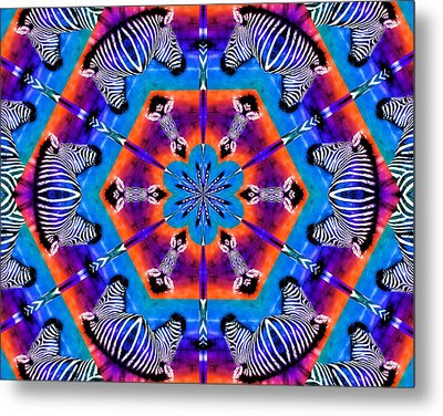 Zebra Kaleidoscope Metal Print