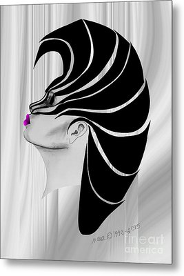 Metal Print featuring the drawing Zebra Punk by Marianne NANA Betts