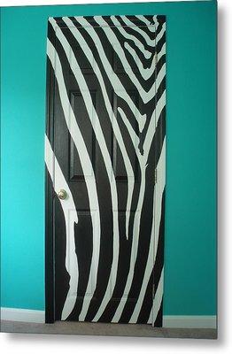 Zebra Stripe Mural - Door Number 1 Metal Print by Sean Connolly