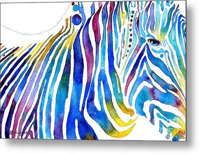 Zebra Stripes Metal Print by Jo Lynch