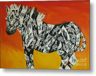 Metal Print featuring the painting Zebras In Stripes by Cassandra Buckley
