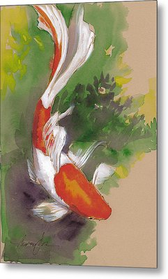 Zen Comet Goldfish Metal Print by Tracie Thompson