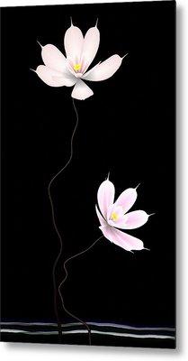 Zen Flower Twins With A Black Background Metal Print by GuoJun Pan