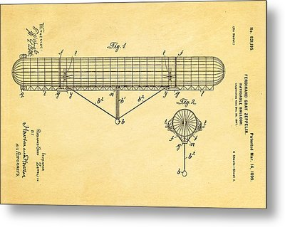 Zeppelin Navigable Balloon Patent Art 1899 Metal Print by Ian Monk