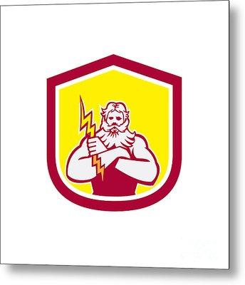 Zeus Greek God Arms Cross Thunderbollt Retro Metal Print by Aloysius Patrimonio