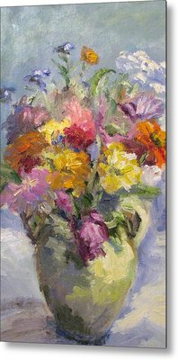 Zinnias And Wildflowers Still Life Metal Print