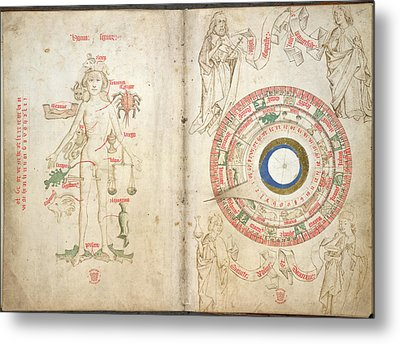 Zodiacal Figure And Diagram Metal Print by British Library