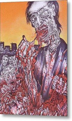 Zombie Blood Sunset Metal Print