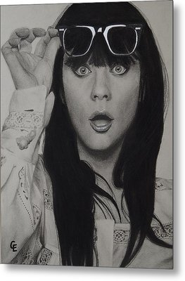 Zooey Deschanel Metal Print by Chrissy Eckman