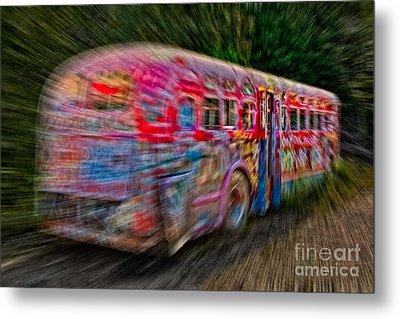 Zooming Graffiti Bus Metal Print