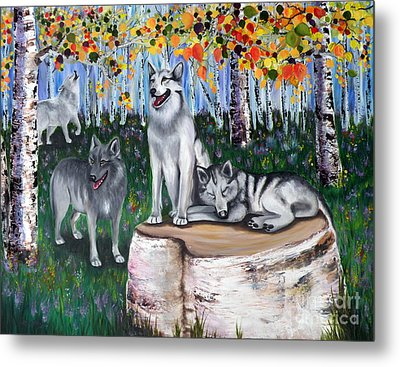 Zorros Wolves Amid The Aspens Metal Print