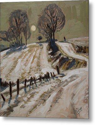 Zuid Limburg First Snow And Full Moon Metal Print