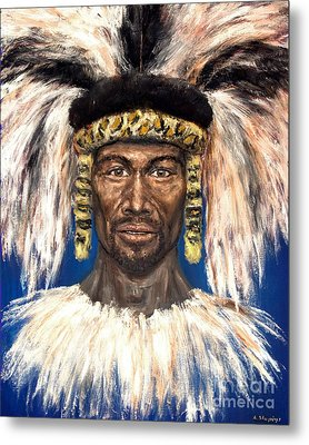 Metal Print featuring the painting Zulu Warrior by Arturas Slapsys